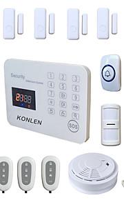 sans fil antivol systèmes d'alarme GSM voix de sécurité à la maison de sécurité lcd sms alerte app android avec détecteur de fumée