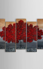 Ready To Hang Hand-painted Abstract Life Red Tree Landscape Oil Painting Wall Art Decor Stretched Frame