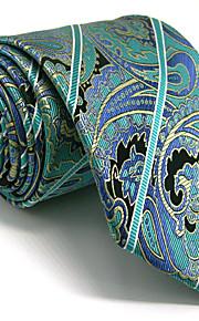 Men's Green Tie 100% Silk Business Dress Casual Long