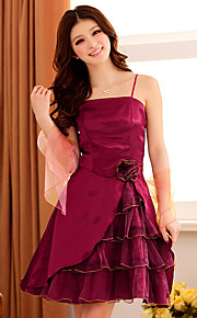 Knee-length Satin / Polyester Bridesmaid Dress A-line Spaghetti Straps with Flower(s)