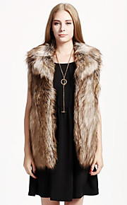 Women's Plus Size / Casual/Daily / Party/Cocktail Sexy / Simple Fur Coat,Solid Stand Sleeveless Fall /
