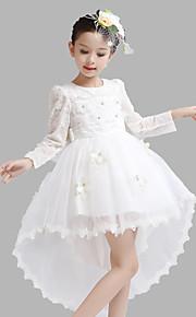 Robe de Soirée Asymétrique Robe de Demoiselle d'Honneur Fille - Satin / Tulle Manches longues Bijoux avec Détail Cristal / Fleur(s)