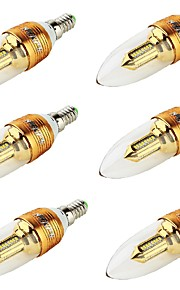 3 E14 LED-lysestakepærer CA35 32 SMD 3014 250 lm Varm hvit Dekorativ AC 85-265 / AC 220-240 / AC 100-240 / AC 110-130 V 6 stk.