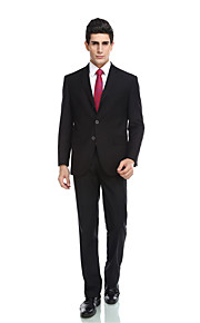 Tuxedos Tailored Fit Notch Single Breasted Three-buttons Viscose)/ Wool & Polyester Blended Solid 2 Pieces Black