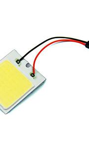 2 stuks auto voertuig geleid 48 smd cob chip met t10 + slinger aansluitpaneel lichte interieur witte lamp (12V)