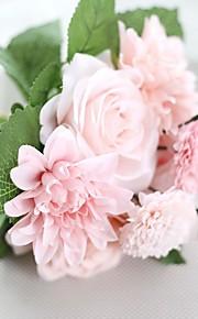 1 1 ענף פוליאסטר ורדים פרחים לשולחן פרחים מלאכותיים 30CM