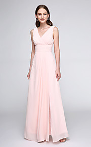 Lanting Bride Floor-length Chiffon Bridesmaid Dress - Elegant Sheath / Column V-neck with Criss Cross / Ruching