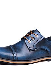 Синий / Коричневый / Красный-Мужской-Для офиса / На каждый день / Для вечеринки / ужина-Кожа-На низком каблуке-Удобная обувь-Туфли на