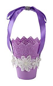 Candy Color Lace Decoration Flower Candy Favor Basket for Wedding Party(11*24cm)
