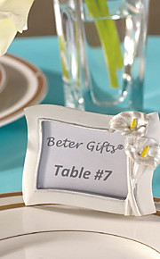 Beter Gifts® Bridesmaids / Bachelorette Wedding décor Photo Frame Table Place card holder / Rustic / Silver / Floral