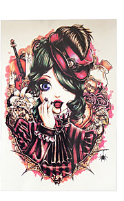 1pc England Girl Vampire Waterproof Tattoo Women Body Art Temporary Paper Tattoo Sticker HB-008