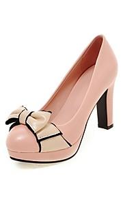 Women's Heels Summer / Fall Heels / Round Toe PU Office & Career / Casual Chunky Heel Bowknot Black / Pink / White /