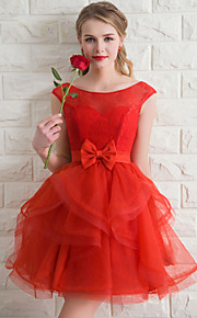 Short / Mini Organza Bridesmaid Dress A-line Scoop with Bow(s)
