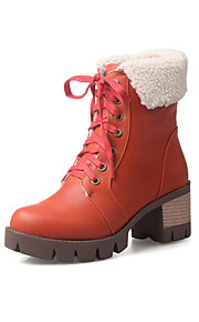 Women's Boots Fall / Winter Fashion Boots PU Casual Chunky Heel Lace-up Black / Brown / Green / Orange Others