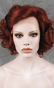 IMSTYLE 10Heat Resistant Auburn Curly Synthetic Lace Front Hair Wig