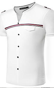 Bomull / Spandex Fritid / Kontor / Formellt / Sport / Plusstorlek T-shirt Herr Randig / Enfärgad Kort ärm-Blå / Vit