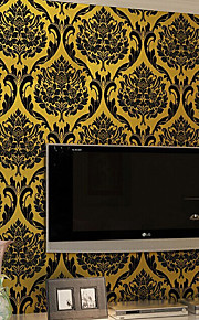 Non-Woven Embossed Flocking Wallpaper 3D Design Damask Wall Paper Classic Europe Style Home Decoration