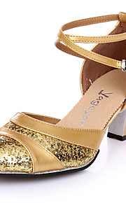 Non Customizable Women's Dance Shoes Suede Suede Salsa Heels Chunky Heel Practice Silver Gold