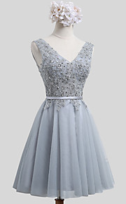Short / Mini Lace / Satin / Tulle Bridesmaid Dress - Mini Me A-line V-neck with Beading / Sash / Ribbon