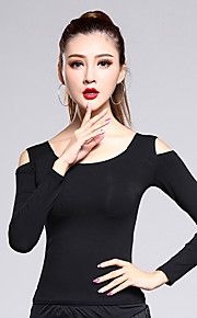 Latin Dance Tops Women's Training Modal 1 Piece Black Latin Dance Long Sleeve Natural Top