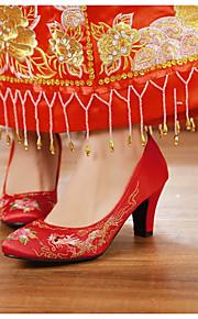 Homme-Mariage-Rouge-Gros Talon-Confort-Chaussures à Talons-Similicuir