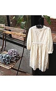 Mädchen Kleid-Lässig/Alltäglich einfarbig Baumwolle Herbst Blau / Beige