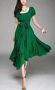 De las mujeres Tallas Grandes Vestido Vintage Un Color Midi Escote en U Poliéster