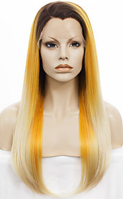 IMSTYLE 24New Arrival Yellow Blonde Ombre Synthetic Lace Front Wig Dark Root