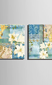 E-HOME® Stretched Canvas Art Lily Pattern Decoration Painting  Set of 2
