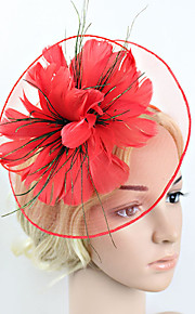 Women's Feather / Net Headpiece-Wedding / Special Occasion Party Flower Fascinators 1 Piece Black / Beige / Red / Blue