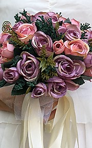 Wedding Flowers Round Roses Bouquets Wedding / Party/ Evening Satin 9.06(Approx.23cm)