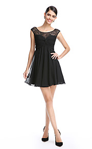 TS Couture® Cocktail Party Dress A-line Scoop Short / Mini Chiffon / Lace with Lace / Criss Cross