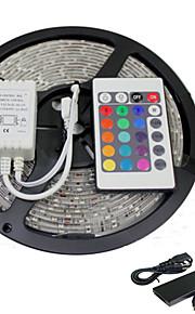 5m rgb smd5050 300leds ledet stripe lys 24 knappers fjernkontroll&5a effekt (DC12V)