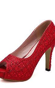 Homme-Mariage / Habillé / Soirée & Evénement-Rouge / Blanc-Gros Talon-Talons / Bout Ouvert-Chaussures à Talons-Synthétique