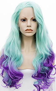 IMSTYLE 24New Arrival Green Purple Ombre Wave Synthetic Lace Front Wig