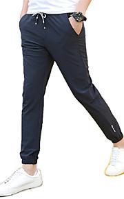 Enfärgad Fritid / Sport Träningsbyxor Herr Polyester / Spandex Svart / Blå