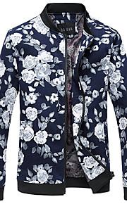 Veste Pour des hommes Manches longues Décontracté / Travail / Sport / Grandes Tailles Coton A Motifs / Fleur Noir / Bleu