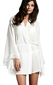 Women Chemises & Gowns NightwearSexy Solid-Thin Chiffon White Women's