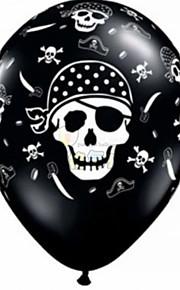100шт 12 '' утолщаются лицо черепную голова Хэллоуин мяч для день рождения партии декора пират печатания латексные шары гелием