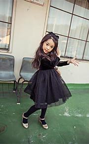 Mädchen Kleid-Lässig/Alltäglich einfarbig Baumwolle Winter Schwarz