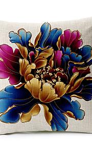1 pcs Coton/Lin Taie d'oreiller / Oreiller de corps / Canapé Coussin,Fleur Moderne/Contemporain / Traditionnel/Classique