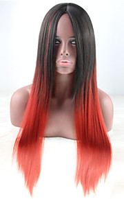 Cosplay Anime False Red Black Long Straight Hair Harajuku Gradient Euramerican Style