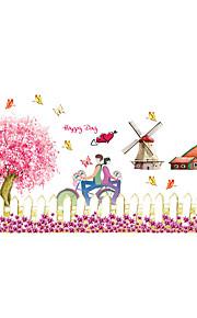 Животные / Рождество / Цветы Наклейки Простые наклейки Декоративные наклейки на стены,PVC материалВлажная чистка / Съемная / Положение