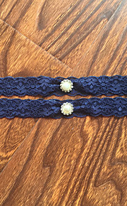 Garter Stretch Satin / Lace Lace / Rhinestone Blue