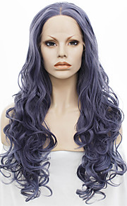 IMSTYLE 24On Sale Hot Selling Ash Purple Long Wave Synthetic Lace Front Wigs