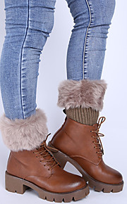 Women's Winter Knitting Warm Flanging Imitation Fur Leg Warmers