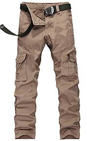 Pantaloni della tuta Uomo Casual / Attività sportive / Taglie forti Tinta unita Cotone / Poliestere Nero / Marrone / Verde / Giallo