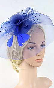 Women's Feather / Net Headpiece-Wedding / Special Occasion Party Fascinators 1 Piece Black / Beige / Blue