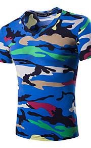 Tee-Shirt Pour des hommes Camouflage Décontracté Manches Courtes Coton Noir / Bleu / Vert / Violet / Rouge