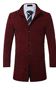 Men's Going out / Casual/Daily / Work Vintage / Simple / Street chic Coat,Houndstooth Notch Lapel Long Sleeve Fall / Winter Red / Black